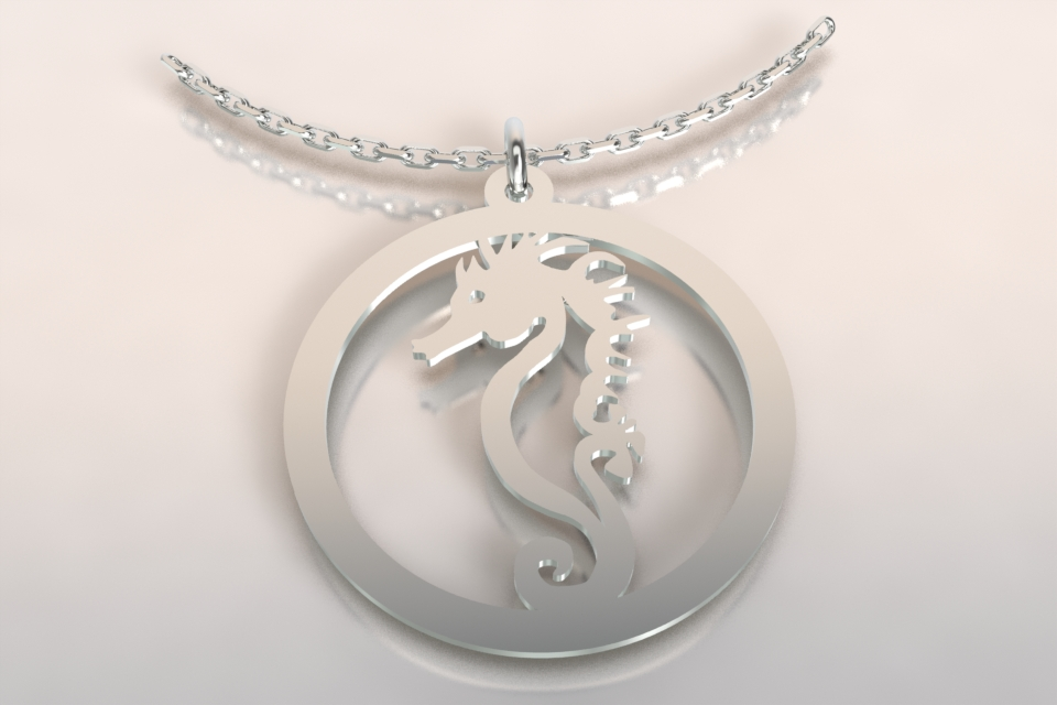 Collier 1 hippo argent