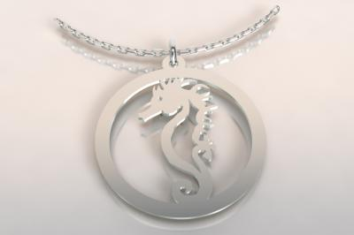 collier argent 925/1000 1 hippocampe