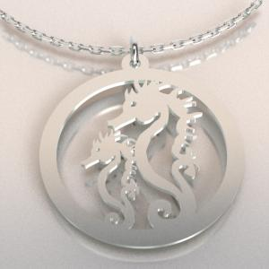 Collier 2 hippos argent