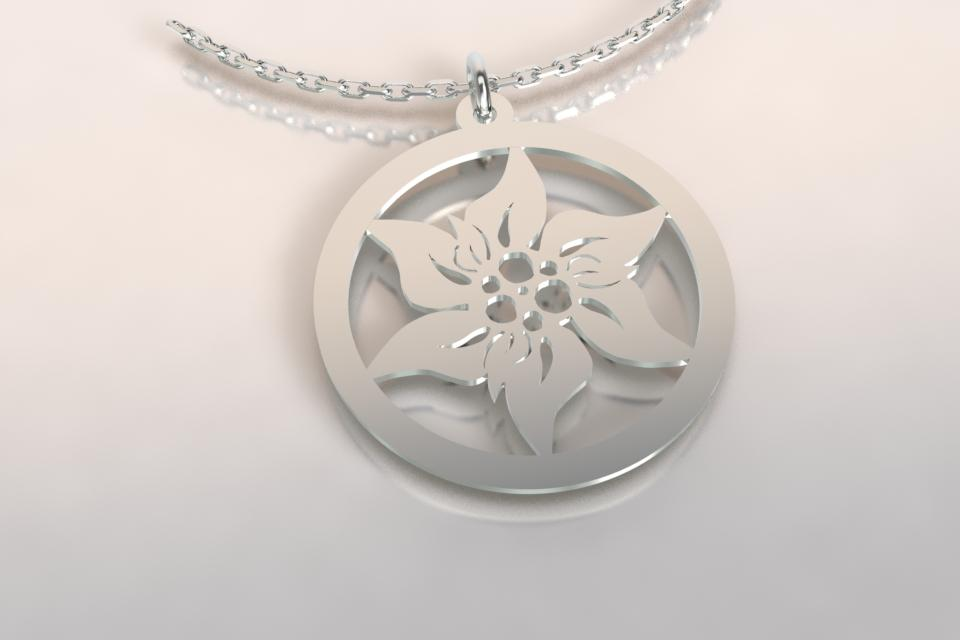 Collier argent edelweiss 6