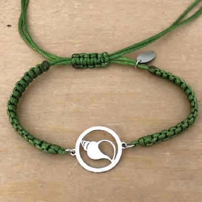 bracelet jeton Coquillage argent 925/1000 cordon marin