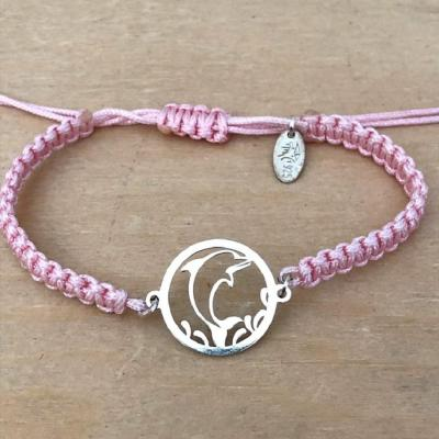 bracelet jeton Dauphin argent 925/1000 cordon marin