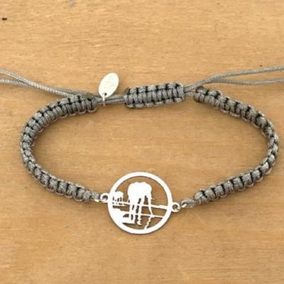 Bracelet jeton Éléphant Reflet Argent 925/1000 cordon marin