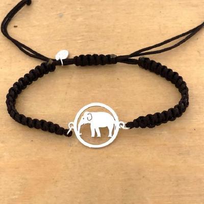 Bracelet jeton Éléphant Argent 925/1000 cordon marin