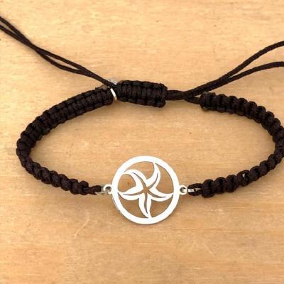 bracelet jeton Etoile de Mer argent 925/1000 cordon marin
