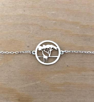 Bracelet sur chaîne Argent 925/1000 - Girafe