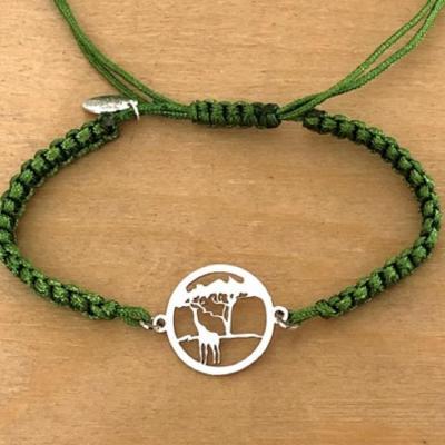 Bracelet jeton Girafe Argent 925/1000 cordon marin