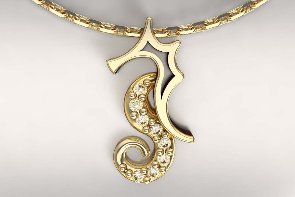 Hippocampe pm or jaune et diamant