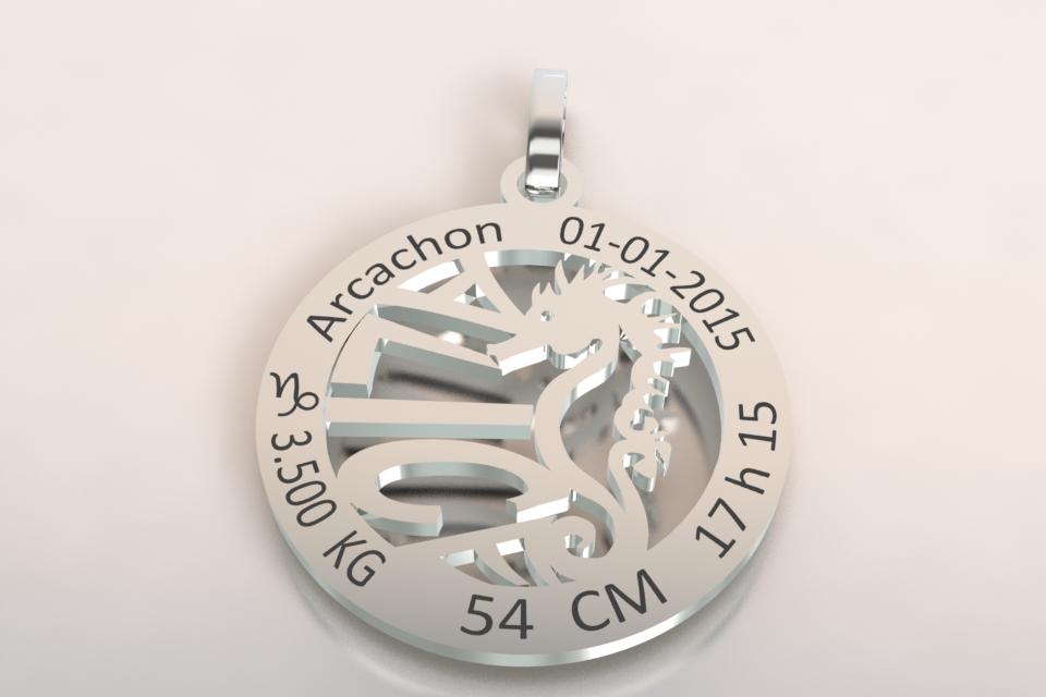 La medaille de naissance motif hippocampe blanc