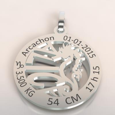 La médaille de naissance  hippocampe  du bassin d'Arcachon  (or blanc 750/1000 )