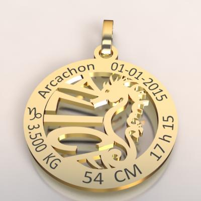 La médaille de naissance hippocampe  du bassin d'Arcachon (or jaune 750/1000 )