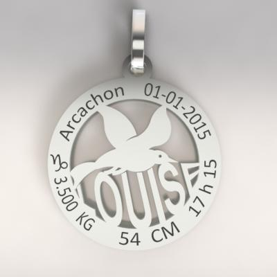 La médaille de naissance  mouette  du bassin d'Arcachon  (or blanc 750/1000 )
