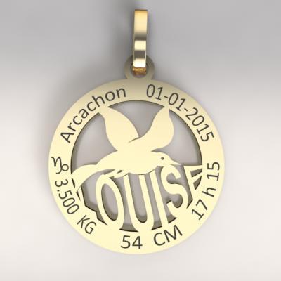 La médaille de naissance  mouette  du bassin d'Arcachon  (or jaune 750/1000 )