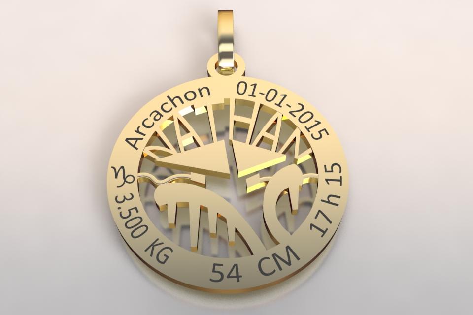 La medaille de naissance or jaune1