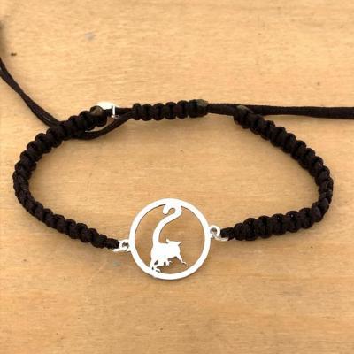 Bracelet jeton Lémurien Argent 925/1000 cordon marin