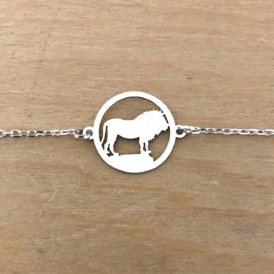 Bracelet sur chaîne Argent 925/1000 - Lion
