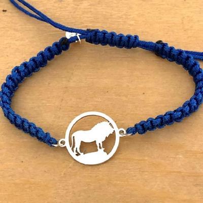 Bracelet jeton Lion Argent 925/1000 cordon marin