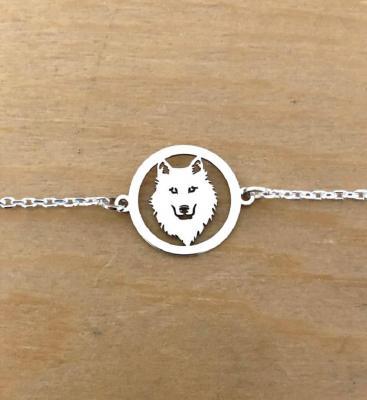 Bracelet sur chaîne Argent 925/1000 - Loup Découpé