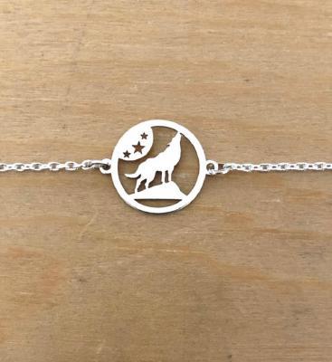 Bracelet sur chaîne Argent 925/1000 - Loup Etoile