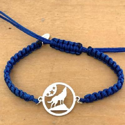 Bracelet jeton Loup Etoile Argent 925/1000 cordon marin