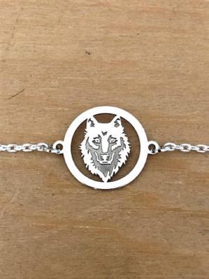 Bracelet sur chaîne Argent 925/1000 - Loup gravé