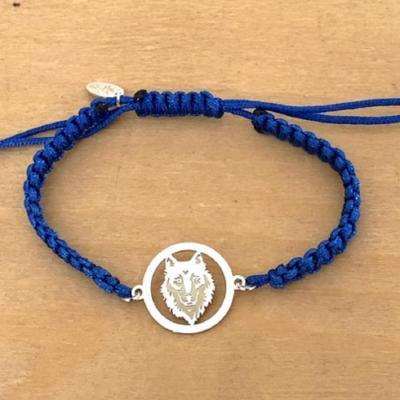 Bracelet jeton Loup Gravé Argent 925/1000 cordon marin