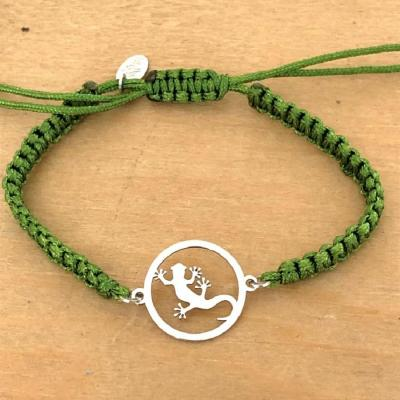 Bracelet jeton Margouillat Argent 925/1000 cordon marin