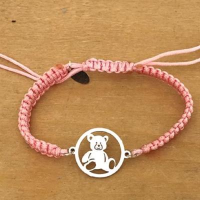 Bracelet jeton Ourson Argent 925/1000 cordon marin
