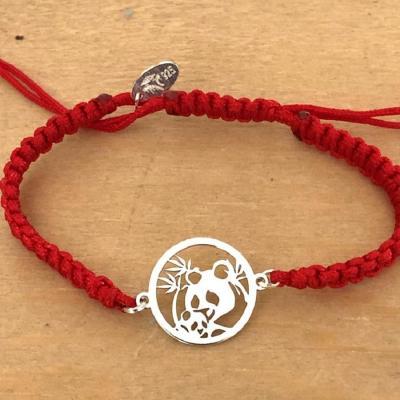 Bracelet jeton Panda bambou Argent 925/1000 cordon marin