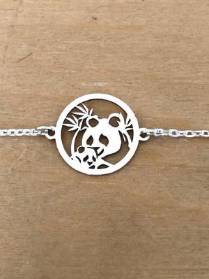 Bracelet sur chaîne Argent 925/1000 - Panda bambou