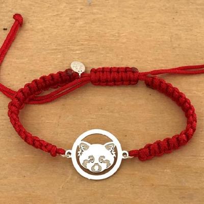 Bracelet jeton Panda roux Argent 925/1000 cordon marin