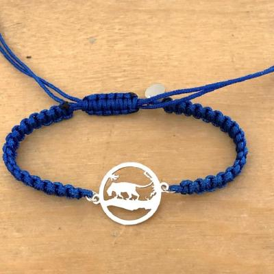 Bracelet jeton Panthère Argent 925/1000 cordon marin