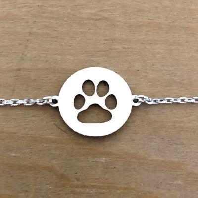Bracelet sur chaîne Argent 925/1000 - Patte de chien