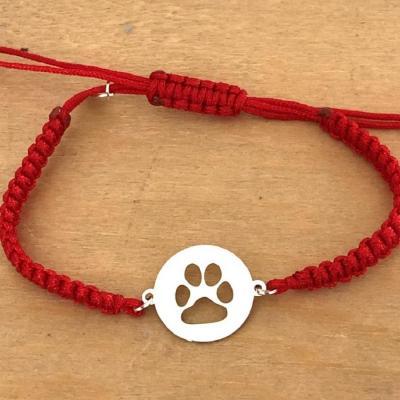 Bracelet jeton Patte Chien Argent 925/1000 cordon marin