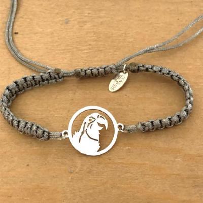 Bracelet jeton Perroquet Argent 925/1000 cordon marin