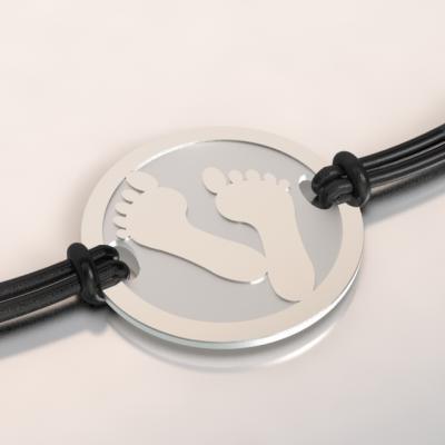 bracelet pieds aregnt et acier