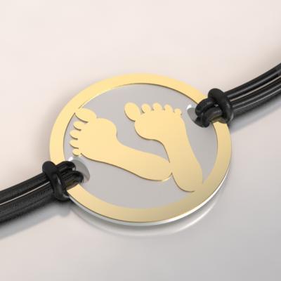 bracelet pieds or et acier