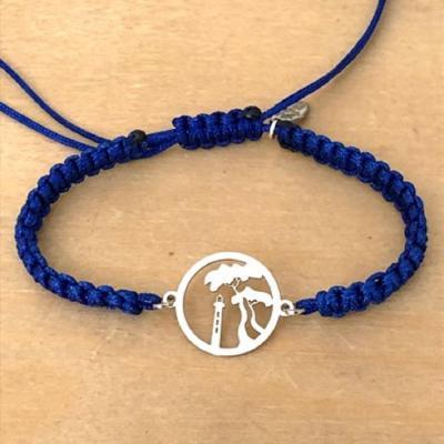 bracelet jeton Pin-parasol et phare  argent 925/1000 cordon marin