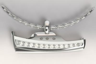 Pendentif pinasse argent 925/1000 et diamants,poids 5 gr