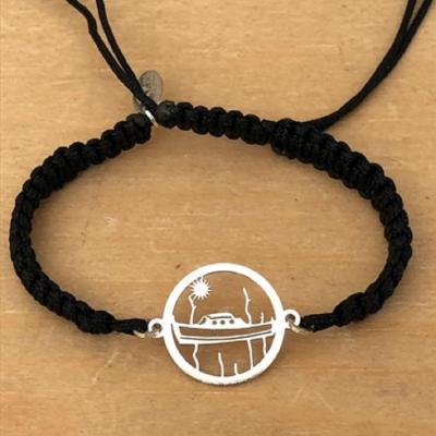 Bracelet jeton Pinasse et Pignots argent 925/1000 cordon marin