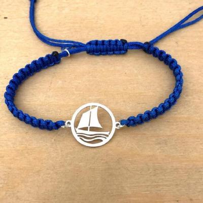 bracelet jeton Pinassotte argent 925/1000 cordon marin