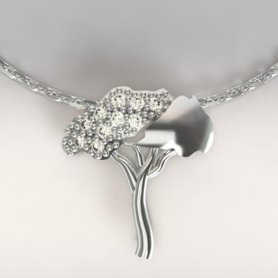 pendentif pins parasol argent 925/1000  3.6 gr avec  diamants 0.13ct