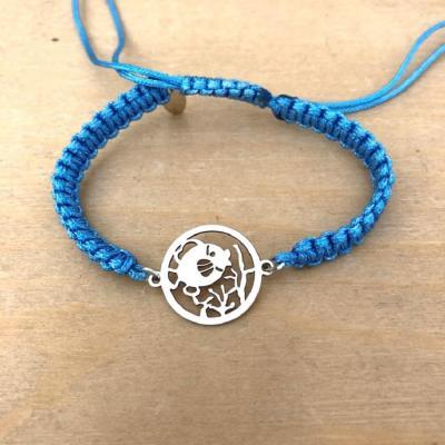 bracelet jeton Poisson Corail argent 925/1000 cordon marin