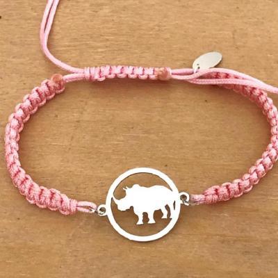Bracelet jeton Rhinocéros Argent 925/1000 cordon marin