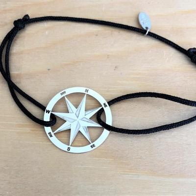bracelet jeton Rose des vents Argent 925/1000 cordon simple