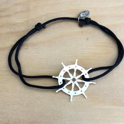 bracelet jeton Barre de Marin trouée Argent 925/1000 cordon simple