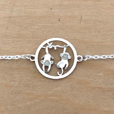 Bracelet sur chaîne Argent 925/1000 - Singe double