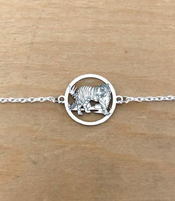 Bracelet sur chaîne Argent 925/1000 - Tigre