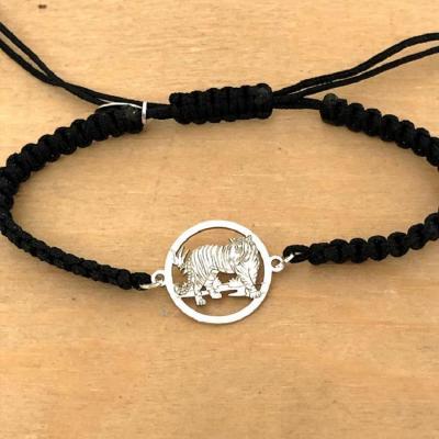 Bracelet jeton Tigre Argent 925/1000 cordon marin