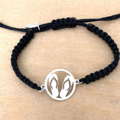 bracelet jeton Tongue argent 925/1000 cordon marin